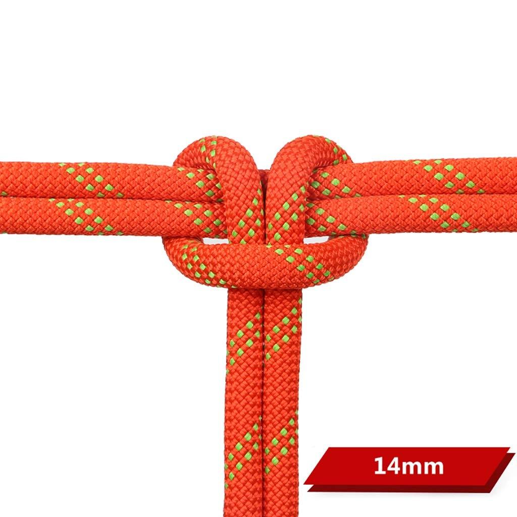 Orange YXWssa équipement d'escalade Corde Statique de diamètre 14 mm, Corde de sécurité en Soie Dupont, Corde d'escalade facultative MultiCouleure (Couleur   Noir, Taille   14mm-30m) 14mm-160m