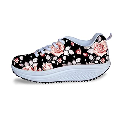 FOR U DESIGNS Vintage Floral Rose Print Shape Ups Fitness Walking Sneaker Casual Womens Wedges Platform Shoes  B01B1DWZGQ