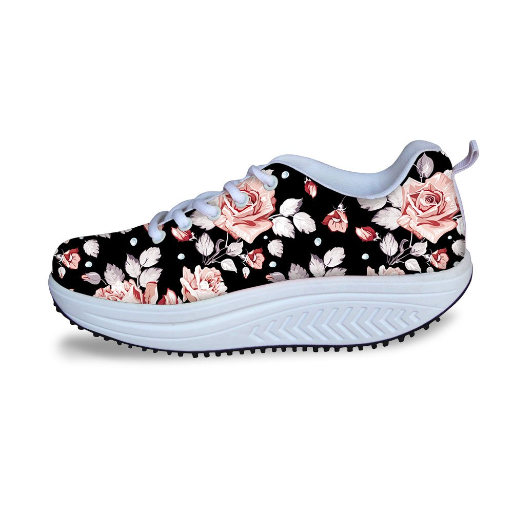 FOR U DESIGNS Sweet Stylish Rose Style Women's Breathable Comfort Platform Sneakers Shoes US 10