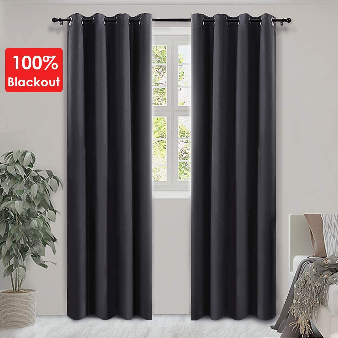 PANDATEX 100 Blackout Curtains 84 inches Long Thermal Insulated Noise Reducing Energy Saving Drapes Grommet Curtains for Living Room Bedroom Nursery Home Set of 2, Dark Grey 52W x 84L inches