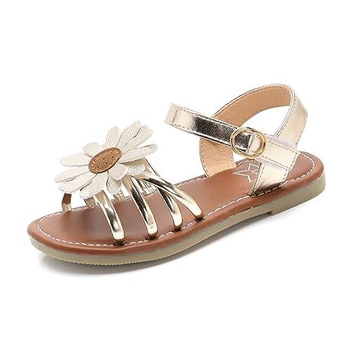 Shevalues Girl S Flower Flat Sandals Cute Summer Open Toe Ankle Strap Dress Sandals For Kids Toddler Little Kid Big Kid