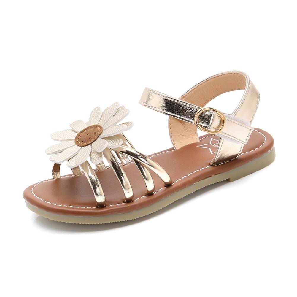 Girl's Flower Flat Sandals Cute Summer Open Toe Ankle Strap Dress Sandals for Kids (Toddler/Little Kid/Big Kid) GD-30