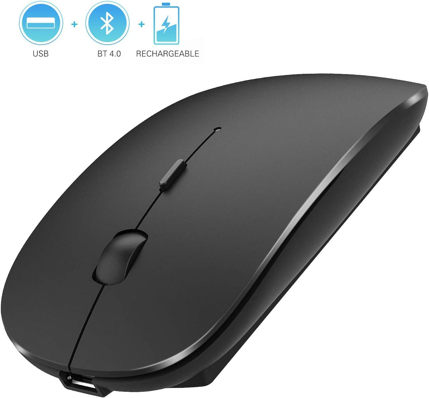 2.4GHz Wireless Bluetooth Mouse, Dual Mode Slim Rechargeable Wireless Mouse Silent USB Mice, 3 Adjustable DPI,Compatible for Laptop Windows Mac Android MAC PC Computer (Black)