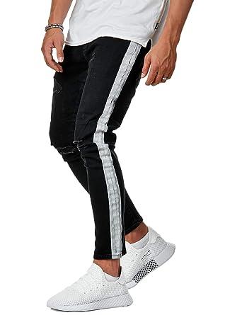 letzter Rabatt aktuelles Styling letzte Veröffentlichung EightyFive EFJ3307 Herren Stripe Pants Slim Fit Jeans-Hose ...