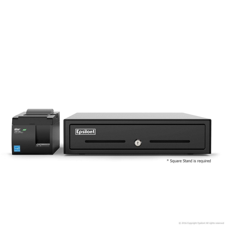正方形POSハードウェアバンドル – Star Micronics tsp143iiu 39464011 USBプリンタとepsilont現金引き出し USB Printer & Drawer White B01MZ54EJP USB Printer & Drawer White  USB Printer & Drawer White