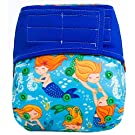"HappyEndings ""Night, Night""TM Velcro Charcoal Bamboo All In One Diaper (+Pocket & 5 Layer Charcoal Bamboo Insert) ""Mermaids"""