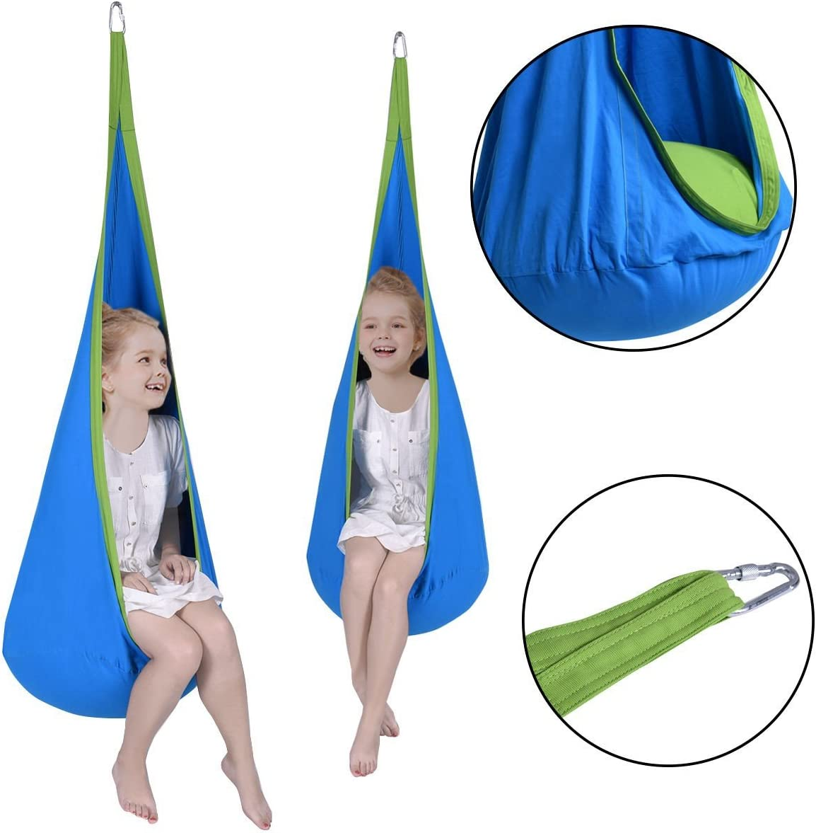 Costway Child Swing Hanging Seat Hammock - Blue durch Spiritone