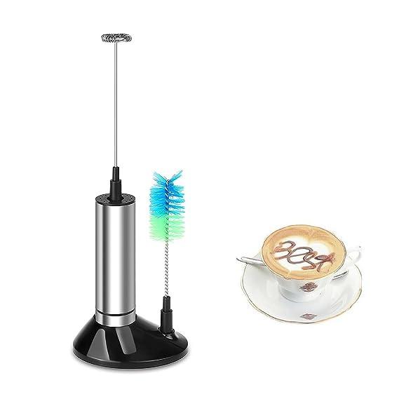 ONEVER Biberón eléctrico de leche de acero inoxidable con cabeza de cepillo para batidor de espumadera Espresso Cappuccino Latte Maker Batir huevos (plata): ...