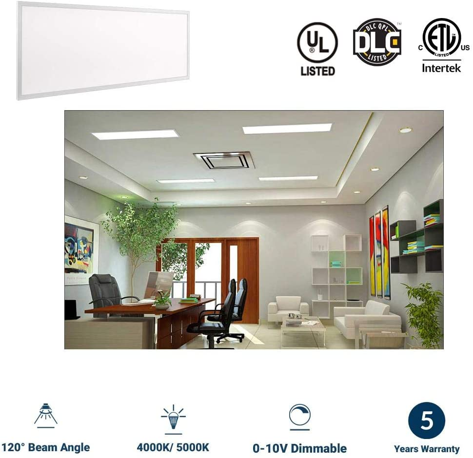 DLC Listed, ,4000 Lumens 2-Pack Replaces 150W ETL 12x48 Inch LED Drop Ceiling Panel Lights 0-10V Dimmable LED Flat Panel Light,5000K 1x4 ft LED Panel Light 120/° Beam Angle LEDMyplace 40W,