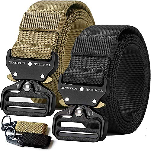 """QINGYUN RONGQI 2 Pack Tactical Belt,Military Style Quick Release Belt,1.5"""" Nylon Riggers Belts for Men,Heavy-Duty Quick-Release Metal Buckle"""