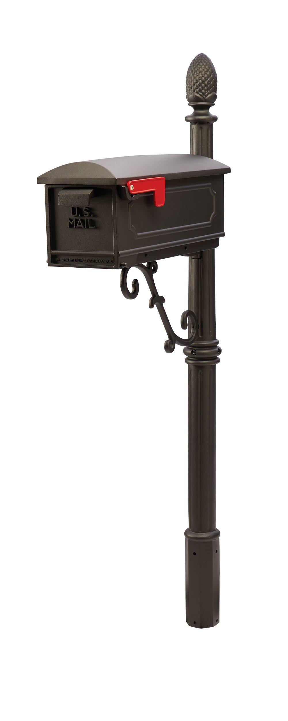 Gibraltar Mailboxes Olde Towne Medium Capacity Cast Aluminum Black, Mailbox & Post Combo, CAR100B0