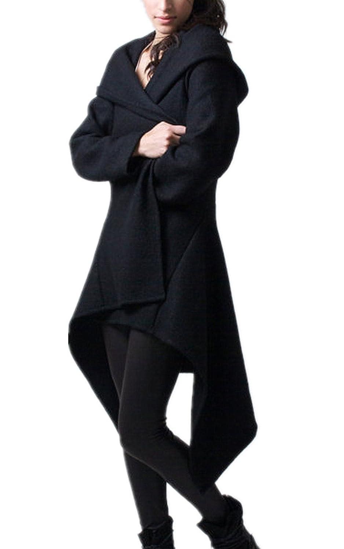 Women's Solid Wool Blends Long Trench Hoodie Wrap Black Coats (L, Black)