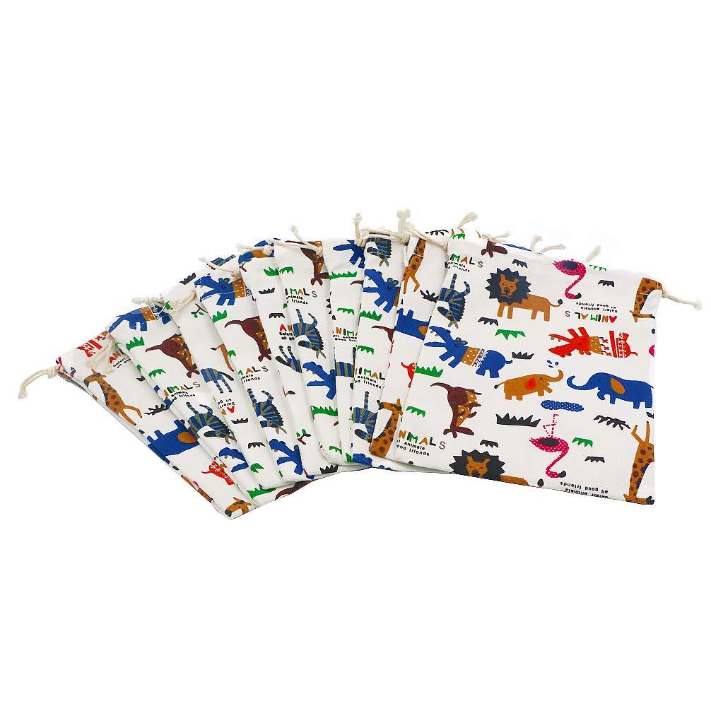 DreamsEden Cloth Drawstring Gift Bag - Colorful Cartoon Animal Theme Cotton Storage Bags for Kids Birthday Halloween, Set of 10 (Small)
