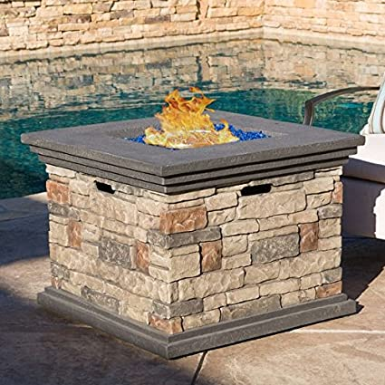Chesney 32-inch Brown Finish Outdoor Square Liquid Propane Fire Pit with Lava  Rocks - Amazon.com : Chesney 32-inch Brown Finish Outdoor Square Liquid