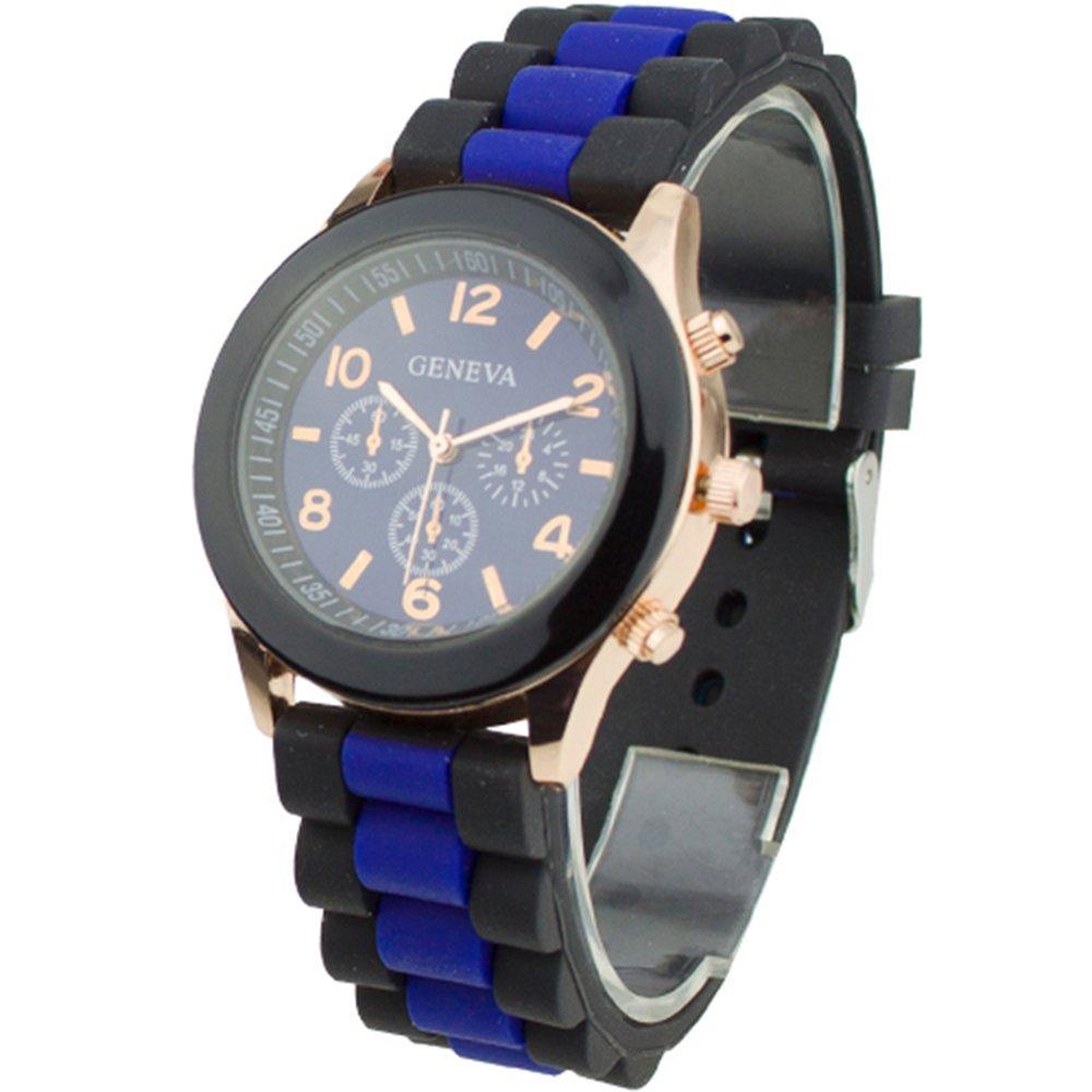 Women's Silicone Band Jelly Gel Quartz Wrist Watch Dark Blue