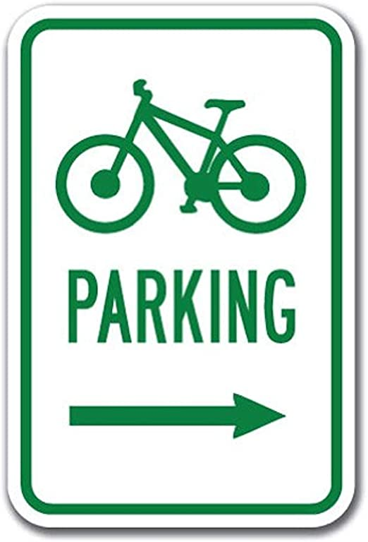Ditooms Bicycle Parking With Right Arrow With Symbol Sign 12 X 18 Heavy Gauge Aluminum Signs