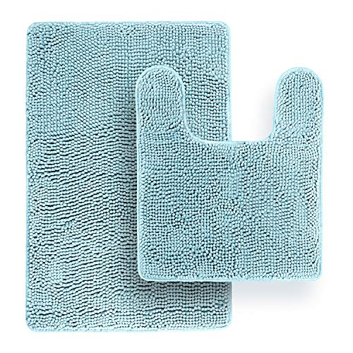 TAFTS Ultra Soft Luxury Bathroom Rugs and Mats Sets, Chenille Microfiber, Absorbent Non-Slip Machine Washable Bath Rugs…