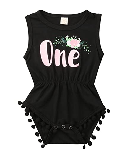 d125f1201f7 Newborn Baby Girl Cotton Sleeveless One Birthday Floral Tassel Rompers  Bodysuit Jumpsuit (Black
