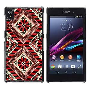 Be Good Phone Accessory // Dura Cáscara cubierta Protectora Caso Carcasa Funda de Protección para Sony Xperia Z1 L39 C6902 C6903 C6906 C6916 C6943 // Pattern Lines Red Black Floral