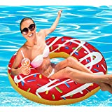 RiffSpheres Gigantic Donut Pool Float Raft - Red Summer Giant Inflatable Donut Pool Floats Tube With Frosting. (Perfect Christmas Gifts Baskets Ideas & Halloween Costume For Kids - Dad - Mom)