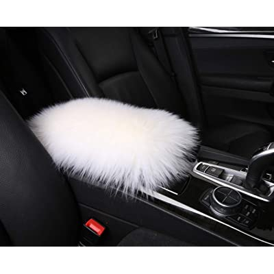 Furry Armrest Cover for Car, Real Sheepskin Wool Fur Soft Fluffy Auto Center Console Cover, Universal Fit, White: Automotive