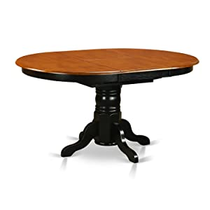 East West Furniture KET-BLK-TP Oval Dining Table with 18-Inch Butterfly Leaf