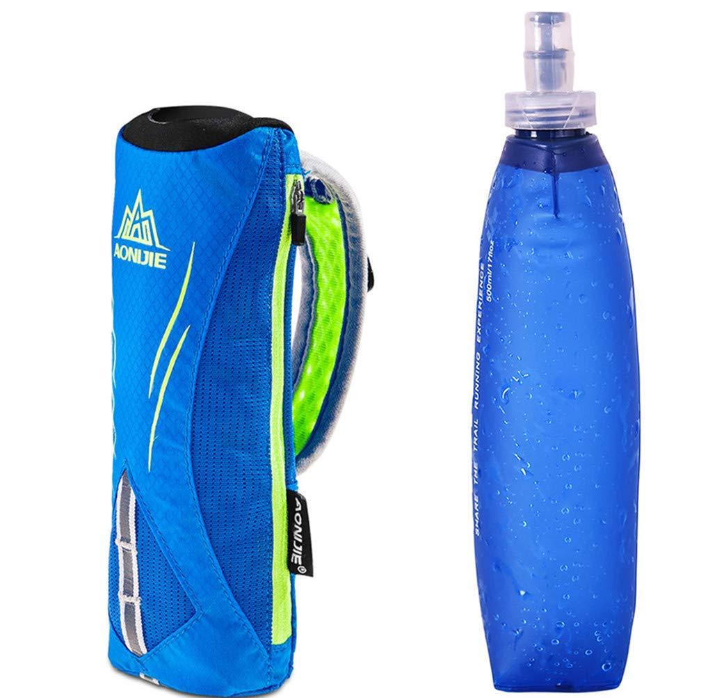 AONIJIE hombre y mujer deportes al aire libre Marathon mano bolsa mochila de hidratación senderismo Running mano Hold bolsa + 1pcs suave de 500ml, Blue+1pcs 500ML Soft flask