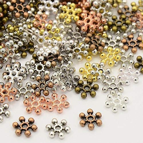 950pcs/200g Mixed Color Snowflake Metal Beads Spacers Beads Tibetan Style 8.5mm Jewelry Making Supplies Set Crafts DIY Kit