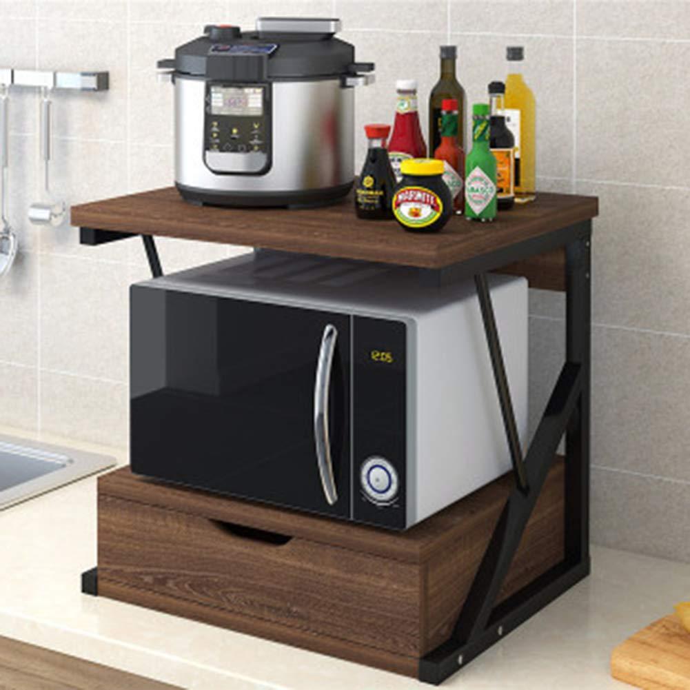 TISESIT INDOOR 2-Tier Multifunctional Kitchen Rack Microwave Stand Oven Floor Shelf Storage Cupboard, Baker's Rack,Spice Rack Organizer Workstation,A by TISESIT INDOOR