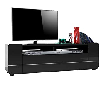tv tisch board bump schwarz lack hochglanz schrank lowboard rack unterschrank soundbar geeignet