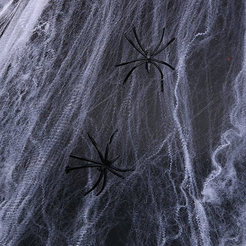Halloween Spider Web White Cob Webs(200g)with 30 Pack Fake Plastic Spiders Stretch Spider Webs Indoor & Outdoor Spooky Spider Webbing for Halloween Decorations -