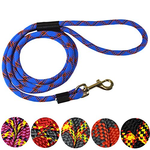 Downtown Pet Supply DTPS, Durable Dog Rope Leash, 6 feet, Blue, Mountain Climbing Rope Leash