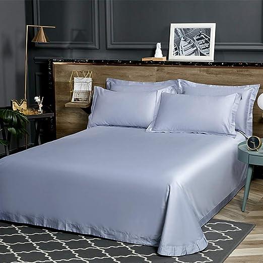 Rebily 80 sábanas de algodón satén de algodón Puro Individual Durmiente Descubierto Luz Europea Hoja de Cama Piel de Usar Color Sedoso Sedoso (Color : Light Sky Blue, tamaño : 1.8m): Amazon.es: Hogar