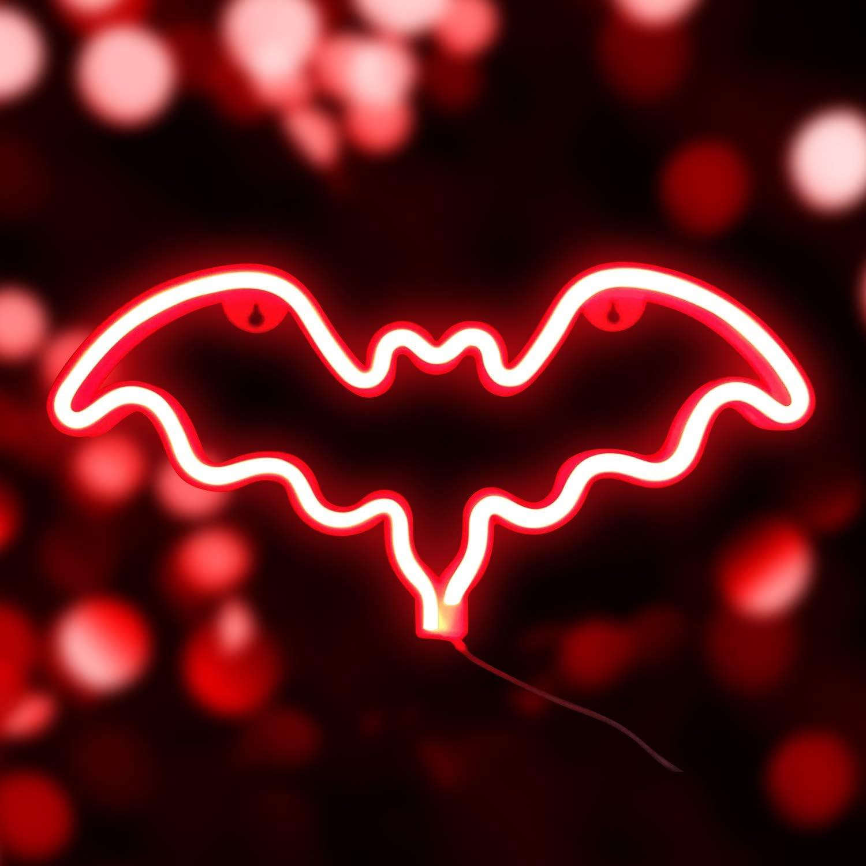 Party LED Bat Sign geformt Nachtlichter Feste Leuchtreklamen f/ür Weihnachten Neonlicht rotes Licht Batterie oder USB Dekoration Lichter Dekoration f/ür halloween