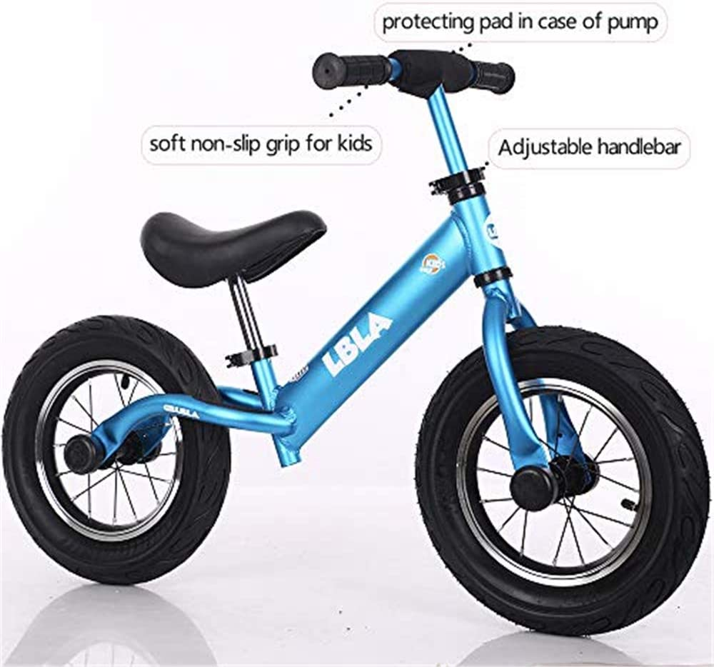 Kids Balance Bike, No Pedal Toddler Bike with Carbon Steel Frame Adjustable Handlebar and Seat 12inch Toddler Walking Bicycle for Kids 2 to 6 Years Old (Blue): Sports & Outdoors