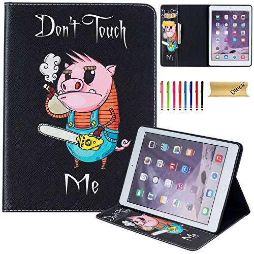iPad Air 2 Case, Air 9.7 Inch Case, Dteck Slim Light Folio Flip Butterlfy Pattern Stand Case with [Card Holder] PU Leather Wallet Cover for Apple iPad Air 2 (A1566/A1567)-Power Saw Pig by Dteck