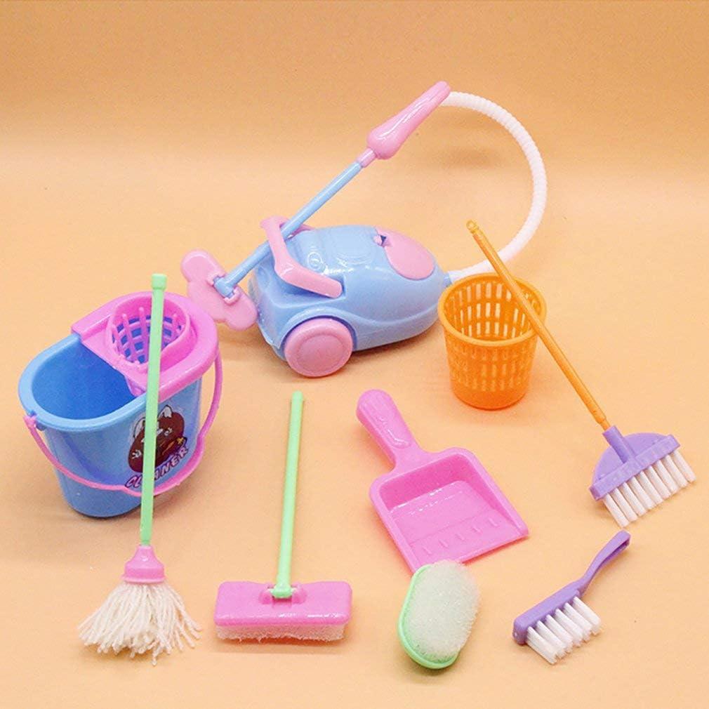 RichnessLong Miniature Mop Dustpan Bucket Brush Housework Cleaning Tools Set Dollhouse Garden Accessories for Barbie Dolls
