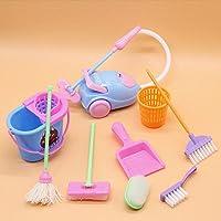 RichnessLong Miniature Mop Dustpan Bucket Brush Housework Cleaning Tools Set Dollhouse Garden Accessories for Barbie…