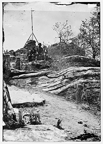 (1864 Photo Chattanooga, Tennessee (vicinity). Tripod signal erected by Capts. Dorr and Donn of U.S. Coast Survey at Pulpit Rock on Lookout Mountain)
