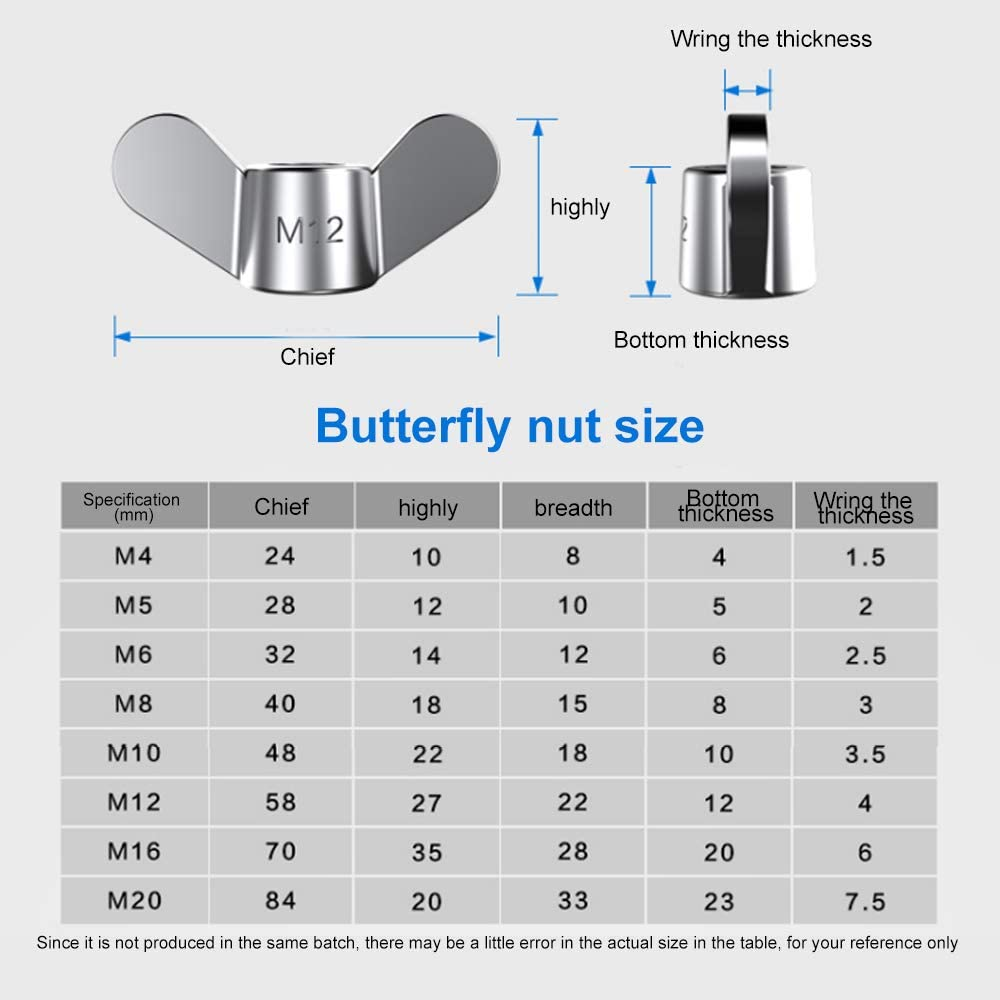 deep Thread,Size M5 Polished Smooth 6 Pack of 304 Stainless Steel The Butterfly nut,Hand Screw nut M5 The Butterfly nut high Hardness Coefficient Stable Structure Mature Technology