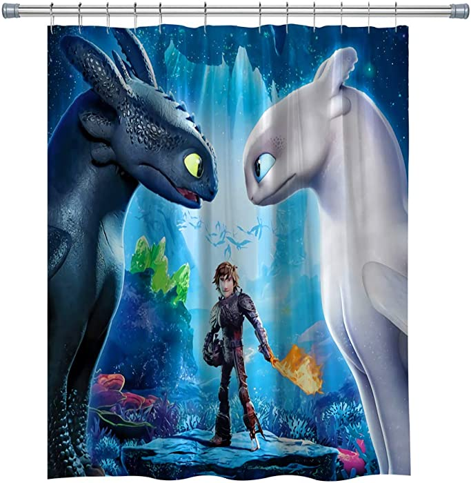How to Train Your Dragon Shower Curtains Cartoon Film, Polyester Fabric Bathroom Decor Set with Hooks, 71X 71 in