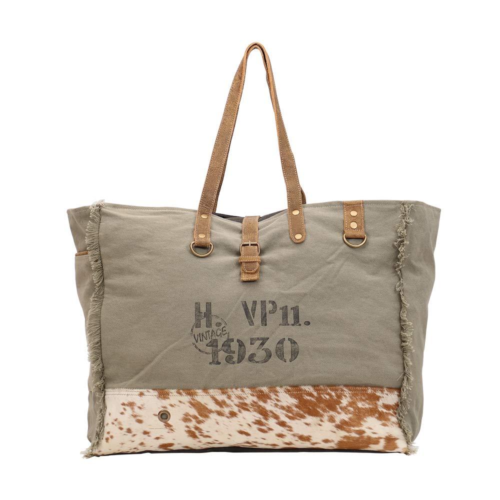 Myra Bag Viridescent Upcycled Canvas Cowhide Weekender Bag S-1444