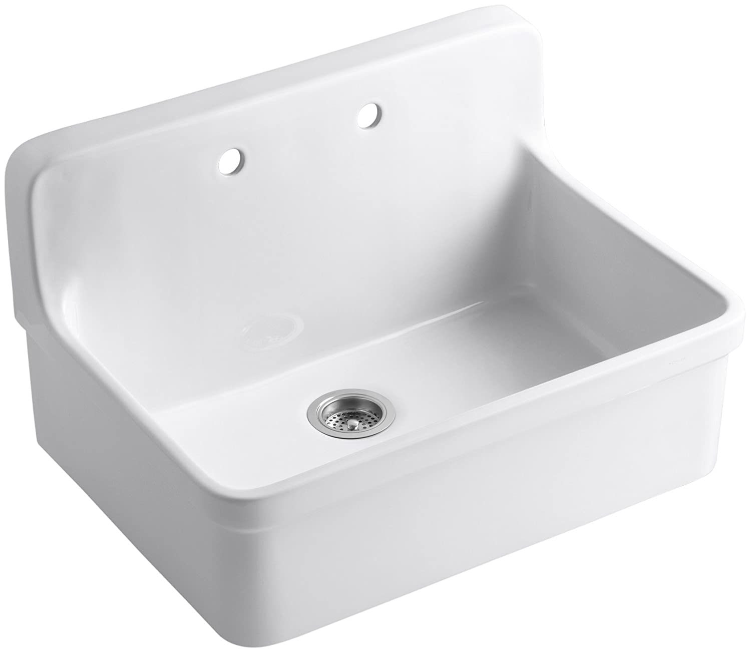 kohler k127000 gilford apronfront wallmount kitchen sink white single bowl sinks amazoncom
