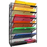 JPSOR 7-Layer Wall Mount File Mail Tray Organizer, Black, for Office and Home Organization