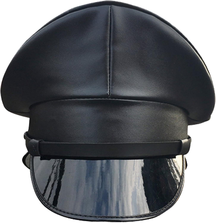 Joyplay Gorra de Oficial de Policia Militar Enarbolada para Hombres Sombrero Que Lleva del Club de Cuero de La PU