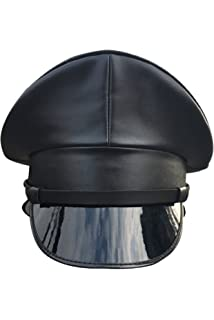 Joyplay Men Peaked Military Police Officer Cap PU Leather Club Wearing Hat 3315418c08ec
