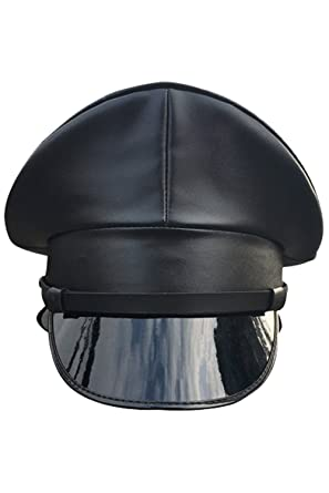 1cd9069f07d Joyplay Men Peaked Military Police Officer Cap PU Leather Club Wearing Hat   Amazon.co.uk  Clothing