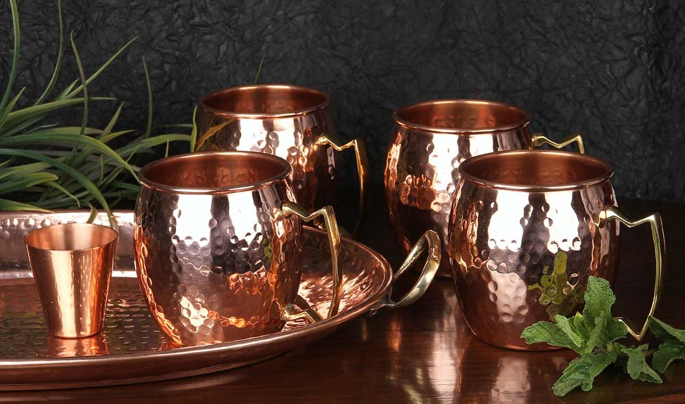 A29 Moscow Mule 100 % Solid Pure Copper Mug /Cup (16-Ounce/Set of 4, Hammered) with BONUS Shot Glass and Free Recipe Booklet by A29 (Image #3)