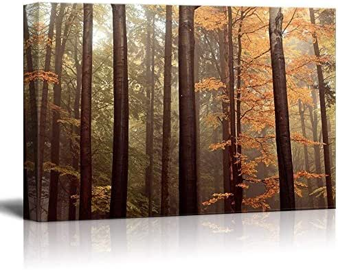 wall26 Canvas Wall Art - Forest with Tall Trees and Yellow Leaves - Giclee Print Gallery Wrap Modern Home Decor Ready to Hang - 24x36 inches