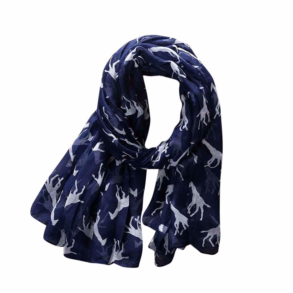 Women Ladie Giraffe Pattern Printing Long Soft Voile Scarf Lightweight Shawl Wraps Wociaosmd Clearance
